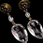 SALE Dangling Clear Faceted Crystal Earrings – Pierced