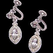 SALE Weiss Clear Rhinestone Dangle Earrings