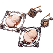 SALE Georgian Platinum, 14kt, Sterling Mine Cut Diamonds and High Relief Cameo Earrings
