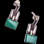 SALE 950 Silver Malachite Mexico Pierced Earrings