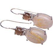 SALE Rutilated Crystal Pierced Earrings