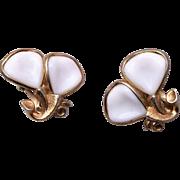 SALE Pre 1955 Trifari White Milk Glass Earrings