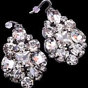 SALE Long Dangling Pierced Rhinestone Earring