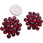 Large Red Rhinestone Earrings