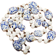 SALE Vintage Blue and Milk Glass Necklace