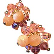 SALE Vendome Pink Crystal and Molded Glass Earrings