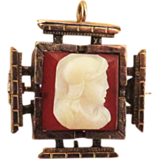 SOLD Carnelian Cameo Stone Watch Fob - Brooch, or Pendant