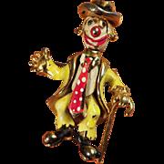 SALE Rare Coro Craft Articulated Enamel Clown - Happy and Sad Faces