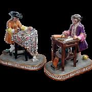 Antique Pair of Figurines, PORCELAINE DE PARIS - BOURDOIS & BLOCH - ACHILLE BLOCH