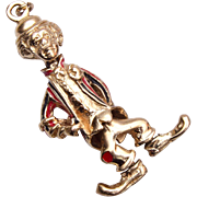 "SALE 11K Gold Figural Clown Pendant - 2 1/4"" ht"