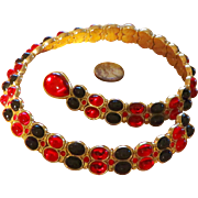 SALE Exquisite Swarovski  Red and Black Necklace - Vintage