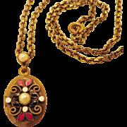 Early Hobe Brass Enamel Pearl Locket Necklace