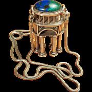 Amazing and Rare Eilat Stone Silver Judaica Pendant Treasure