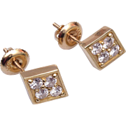 14kt gold and Diamond Pierced Earrings