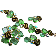 SALE Elsa Schiaparelli Green Rhinestone Bracelet, Brooch and Earring Set