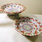 SALE Thai Style Chinese Export Antique Porcelain Footed Trays