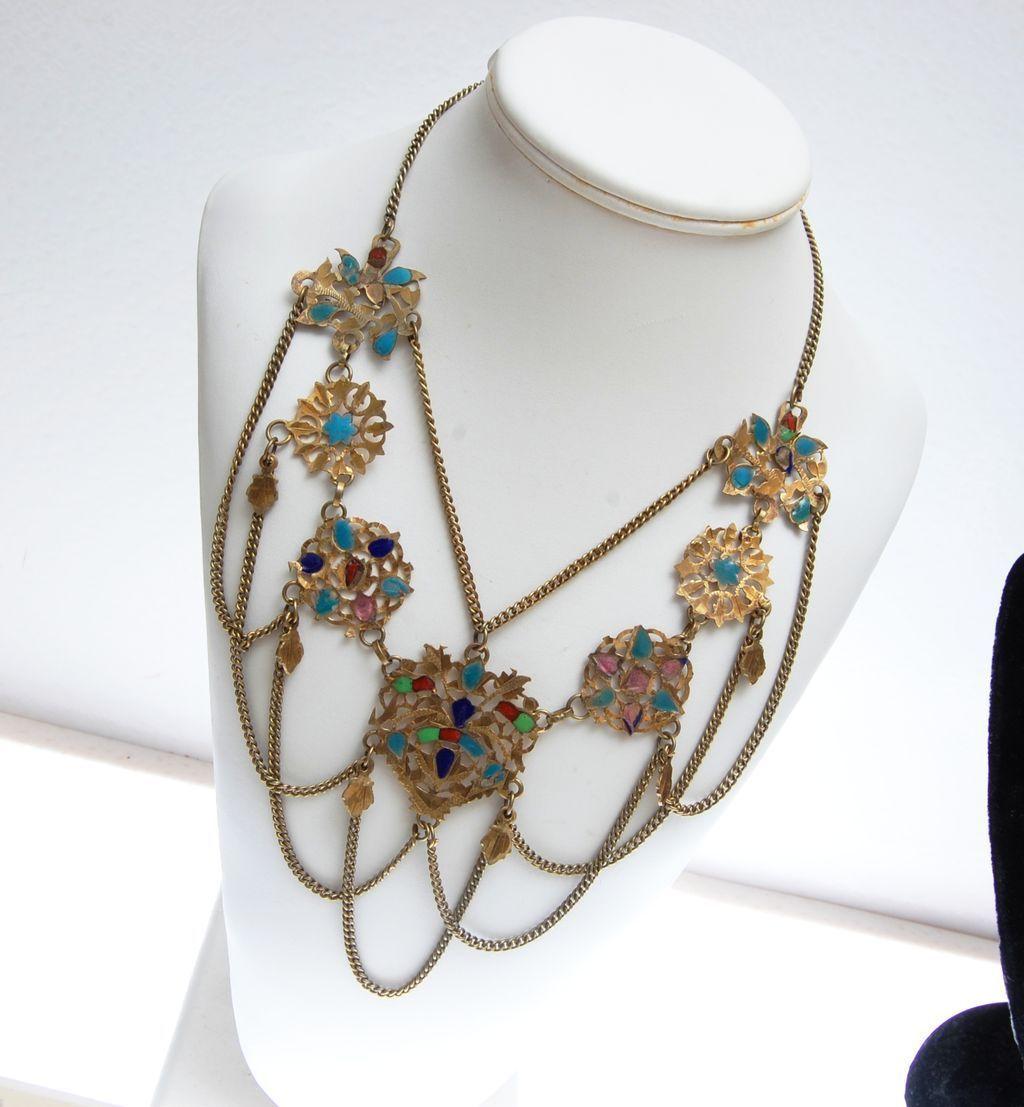 Festoon Brass and Enamel Necklace