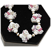 SALE White Milk Glass Flower and Pastel Necklace