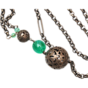 """SALE Silver Filigree Necklace with Green Stone """"Y"""""""