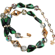 SALE Vendome Green Art Glass and Crystal Necklace