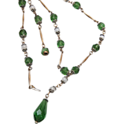 "Green Glass ""Y"" Chain Necklace"