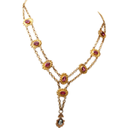 SOLD Pink Bezel Set Crystal and Gold Filled Cameo Necklace