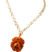 SALE Celluloid Chain and Carved Bakelite Rose Necklace