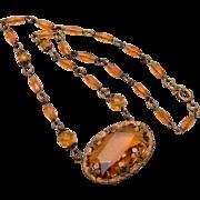 SALE Czechoslovakia Topaz Crystal Necklace
