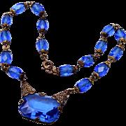 SALE Blue Czechoslovokian Necklace