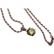 SALE Sterling Necklace With Peridot Pendant