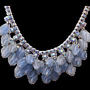 SALE Blue Swirled Glass and AB Rhinestone Necklace