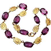 SALE Purple Prong Set Open Backed Crystal Necklace with Sunflower Brass Findings
