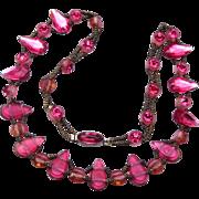 SALE Czechoslovakia Pink Rhinestone Necklace