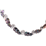 SALE Sterling and Abalone Necklace