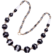 SALE Gorgeous Givre' Black and Clear Glass Beaded Necklace