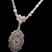 SALE Camphor Glass Pendant with Paper Clip Chain