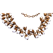 Brass and Milk Glass Danging Necklace