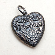 Sterling Silver Heart Charm - Mother and Fabulous Patina