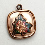 SALE Enameled Maple Leaf Gold Filled Fob