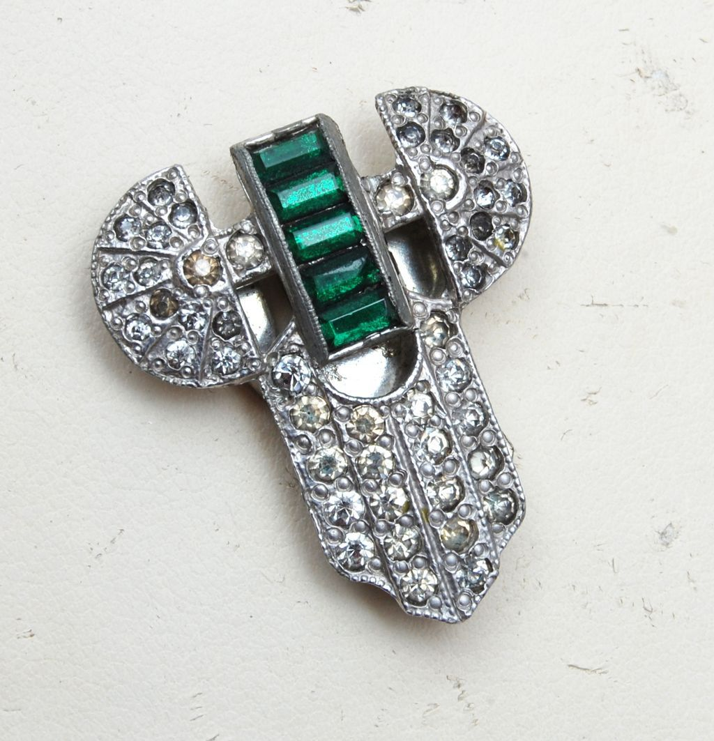 Green Baguette and Pave Rhinestone Dress Clip