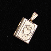 SALE Tiny Locket With Heart Engraving