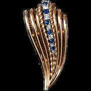 SALE Boucher 6789 Blue and White Rhinestone Fur Clip