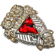 SALE Art Deco Red Glass Dress Clip