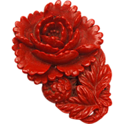 Red Molded Celluloid Dress Clip