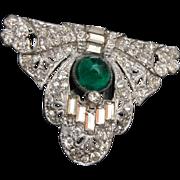 Art Deco Dress Clip - Green Stone