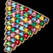 Fabulous Colorful Square Rhinestone Dress Clip