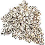 SALE Grape Leaf Pot Metal and Rhinestone Dress Clip