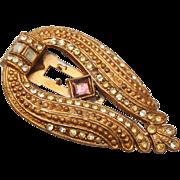 SALE Art Deco Gold Tone and Rhinestone Dress Clip