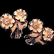 Celluloid Flower Dress Clips - Lovely Pair