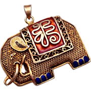 SALE Chinese Filigree and Silver Enameled Elephant Pendant